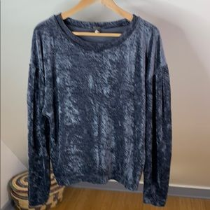 We The Free Milan Crushed Velvet Steel Blue Top S
